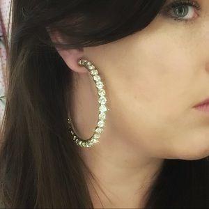 Jewelry - Large rhinestone 3/4 post hoop earrings